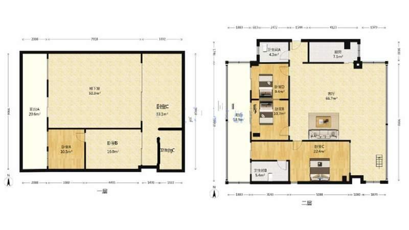 满五年,万科里程稀少带地下室七房,超大实用面积