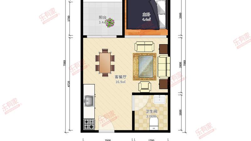 上林苑西北普装1室1厅40m²