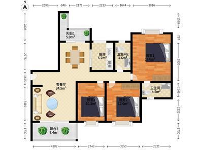 金泽豪庭 南北 普装 3室 2厅-广州金泽豪庭租房