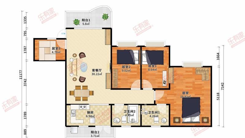 房源带装修,配有家私电器,可以直接拎包入住。