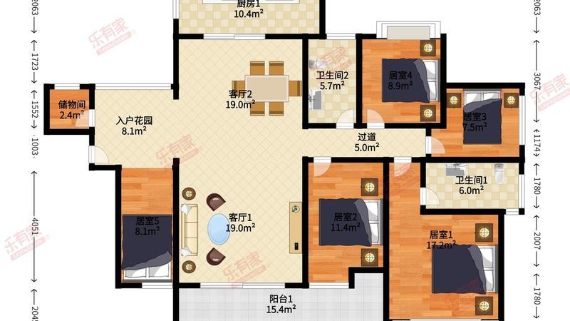 熙璟城豪苑6室2厅2卫143.59㎡