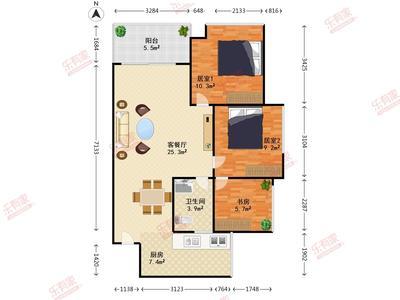 山海美域花园 3房2厅1卫 85.26㎡-深圳山海美域花园租房