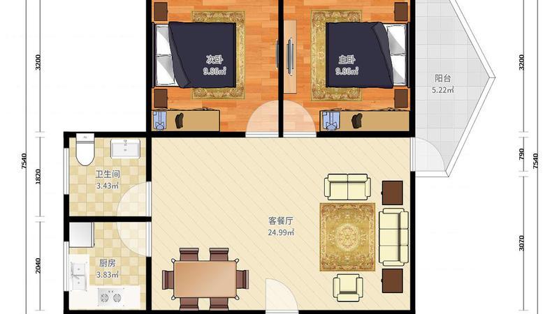广银大厦精装2房,户型方正格局好,总价低