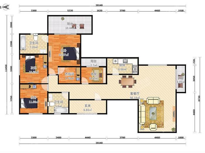 伍兹公寓户型图